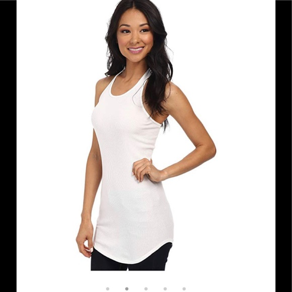 Splendid Tops - Splendid 2x1 Long Racerback Tomboy Ribbed Tank Wht